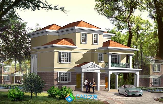3层独栋别墅施工图CAD图纸下载